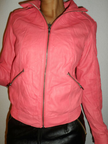 NEW WOMAN/'S LADIES QUALITY 100/% LEATHER ZIP JACKET BIKER STYLE LOOK PINK