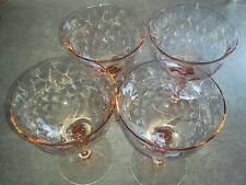 4 Weston Diamond Optic Depression Watermelon Sherbet Glass Set Champagne Vintage