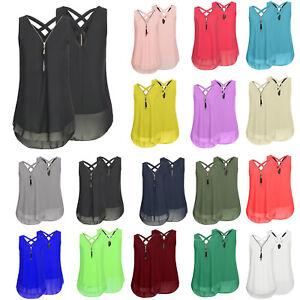 7a4ae7b57aceee Plus Size Womens Zip V Neck Sleeveless Chiffon Back Cross Vest ...