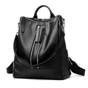 c4c53eeee1564 Das Bild wird geladen Schwarz-Damen-Leder-Rucksack-Backpack-Handtasche- Maedchen-Rucksack-