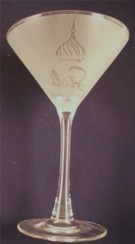 Details about  /Stoli Russian Vodka Clear Stemed White Frosted Etched Martini Cocktail Glass