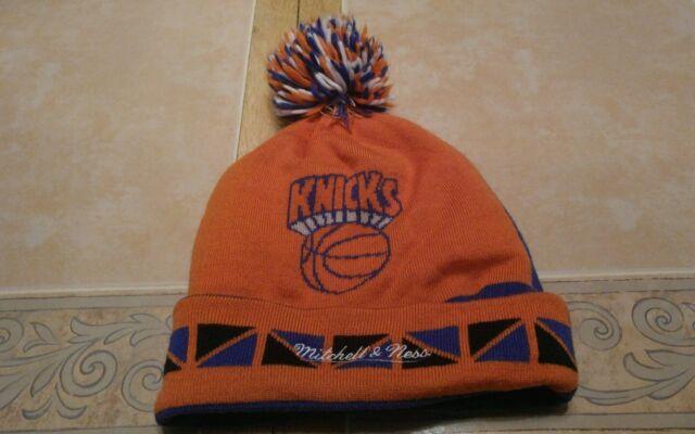 Mitchell & Ness NY Knicks Blue/Orange Pom Knit Skully hat beanie