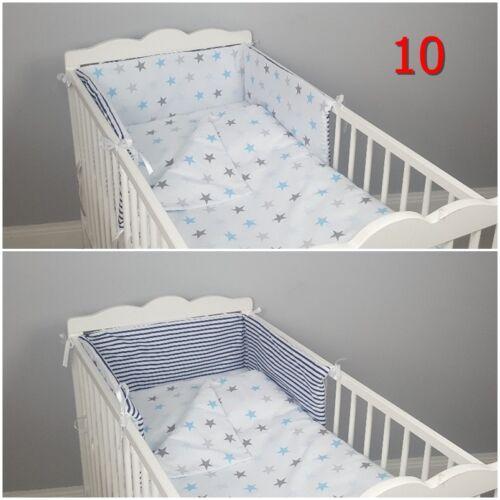 3 pc LUXURY COT//COT BED BABY BEDDING SET reversible bumper quilt pillowcase