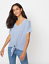 New-Ladies-Ex-George-Plus-Size-Tie-Knot-V-Neck-Front-Linen-Look-Top-Blouse thumbnail 9