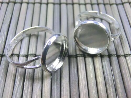 10 Ringrohlinge für 16mm Cabochons Ringe Rohlinge verstellbar Farbe silber #S379