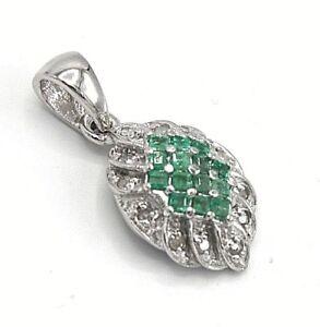 Smaragd-Anhaenger-Smaragd-amp-Brillant-925er-Silber
