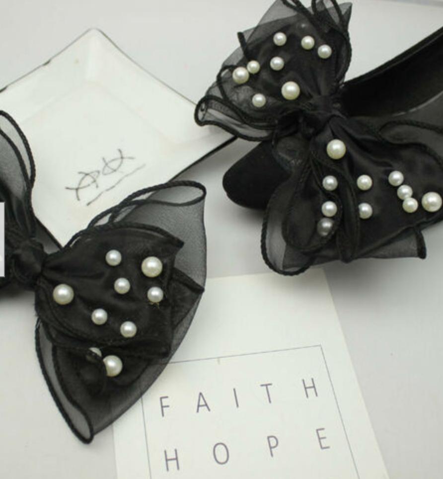 2 Pcs Pearl Black Bow Large Shoe Clips Decoration Pair Accessories
