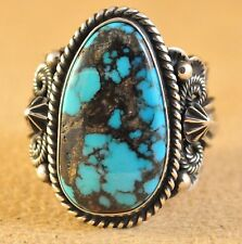 Navajo Handmade Sterling Silver Ring Cloud Mountain Turquoise By Donovan Cadman
