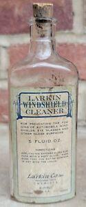 Rare Vtg Larkin Windshield Cleaner Bottle Gas Oil Automotive Related