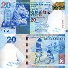 HONG KONG 20 DOLLARS HSBC 2010 HSBC P 212 UNC