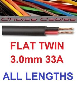 3mm FLAT TWIN AUTO CABLE 33 AMP 2 CORE AUTOMOTIVE THINWALL 3.0MM ...
