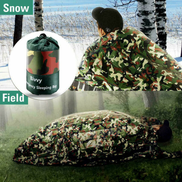 Camping Camouflage Waterproof Reusable Survival Emergency Sleeping Bag Thermal!
