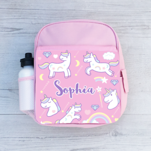 0611b110d Image is loading Personalised-Unicorn-and-Rainbows-Girls-Kids-Backpack- Childrens-