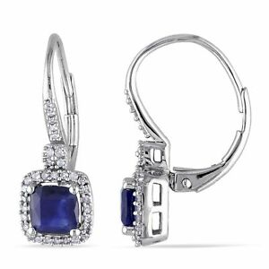 10k White Gold 1 2/5 Ct TGW Sapphire 1/5 ct TDW Diamond Leverback Earrings