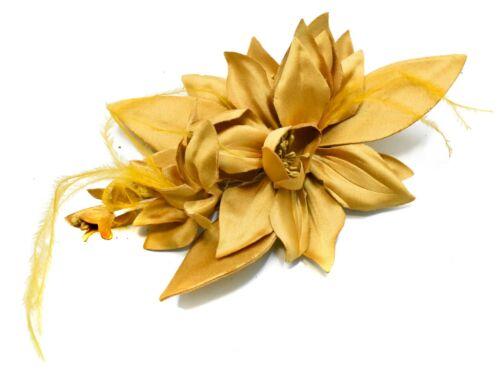 Flor De Tela Sedosa Fascinator de la Pluma Boda Ascot En Accesorios Para El Cabello Peine