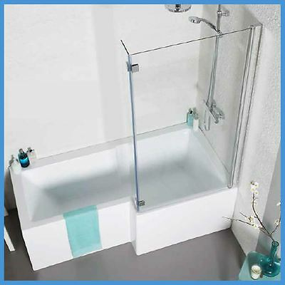 Left & Right Hand L Shaped Shower Bath & Screen 1700mm White Acrylic Bath Panels