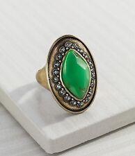 "Silpada K & R Green ""Botanical"" Brass Swarovski Resin Ring Size 9 KRR0072"