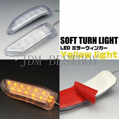 2 x YELLOW LED Car Side Mirror Turn Signal Lights Amber Indicator Soft Lamp