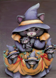Ceramic Bisque Ready to Paint Witch Cat & Kittens includes touch tone music box