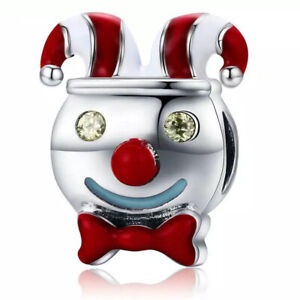Clown-Droll-CZ-European-Charm-Beads-Fit-925-Silver-Bracelet-Necklace-Chain-DIY