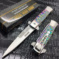 "Tac Force 5"" Closed Spring Assisted Folding Pocket Knife Skull Pattern [Rainbow]"