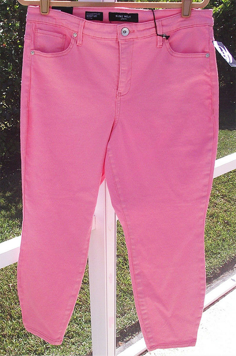 NINE WEST colorD DENIM PINK CROP COTTON SLIM SKINNY CURVY 14W - 25 JEANS NEW