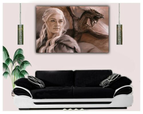 GAME OF THRONE DRAWN WITH CHARCOAL SOFT PASTEL PRINT ON FRAMED CANVAS