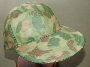 USMC-Marine-US-WW2-CUSTOM-FROGSKIN-CAMO-PONCHO-BALL-CAP-Vtg-Style-Camouflage-Hat