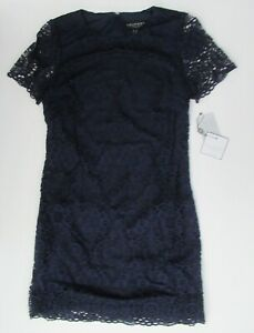 NWT-Laundry-by-Shelli-Segal-Cap-Sleeve-Navy-Lace-Mini-Cocktail-Dress-12-148