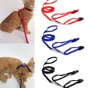 1-Cat-Puppy-Pet-Adjustable-Harness-Collar-Nylon-Leash-Lead-Safety-Walking-Rope