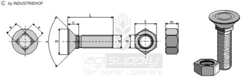 50er Set  Pflugschraube DIN 608 M12 X 1,75 X 80 und Sechskantmutter 128088