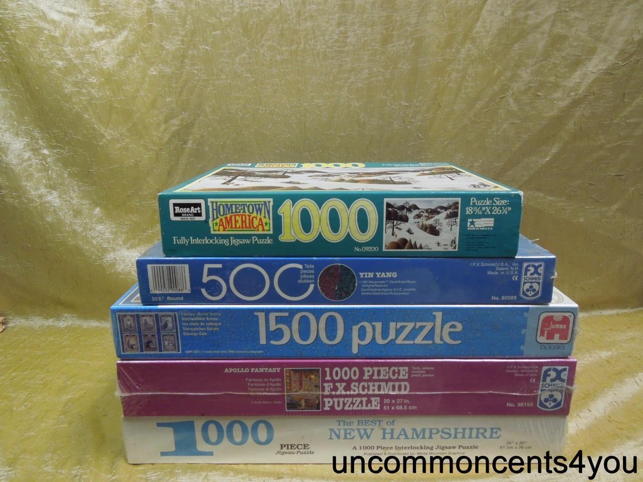 Lot of Puzzle,5,500,1000,1500,New Hampshire,Schmid,Cats,Hometown America,etc,NIB