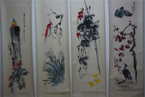 RARE-Chinese-100-Hand-Painting-4-Scrolls-Plants-amp-Animals-034-By-Qi-baishi-A8
