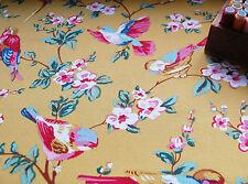 Mobiliario de tela de algodón pesado amarillo mostaza, flor de pájaro por medio metro de #64