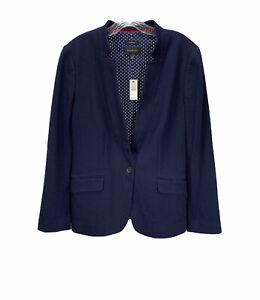 NWT Talbots Aberdeen Cotton Blend Blazer Blue Size 14