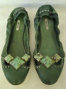 84fb38e3f8b GORGEOUS  MIU MIU Green Ballet Flats Stones Studs 37 6.5 Studded Mui ...