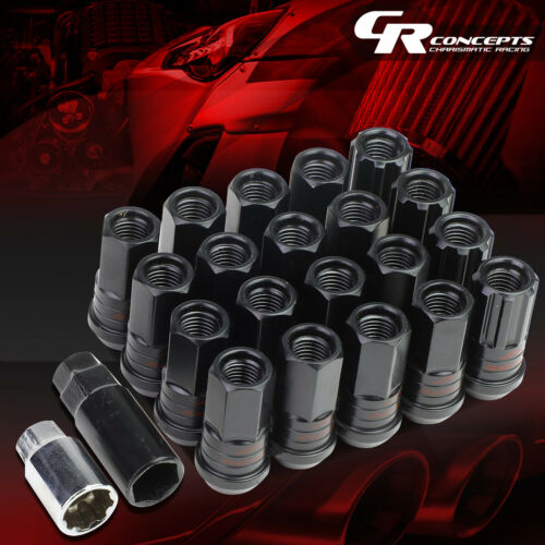 BLACK 16 WHEEL LUG+4LOCK NUT+ADAPTERS M12X1.25 25OD 45MM OPEN SPLINE STEEL
