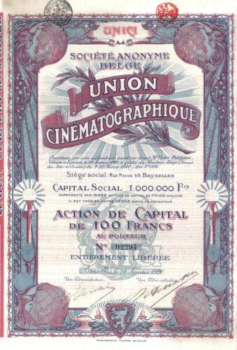 Belgium Bond 1920 Film Union Cinematographique 100 fr Uncancelled TOP Deco coup
