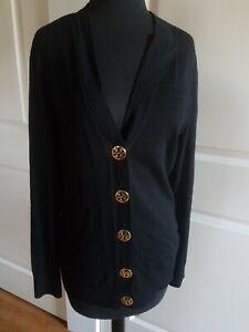 Tory-Burch-Women-039-s-Sweater-Black-Cardigan-100-Wool-Gold-Logo-Buttons-Size-Large