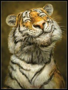 Smiling Tiger - DIY Chart Counted Cross Stitch Patterns Needlework 14 ct Aida