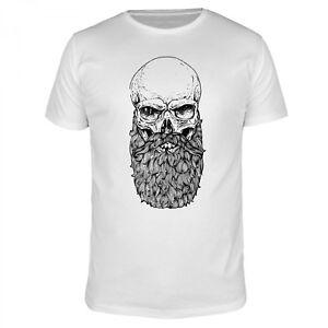 Totenkopf Skull Beard Bart Vollbart Hipster Barber Moustache Fun Shirt Herren