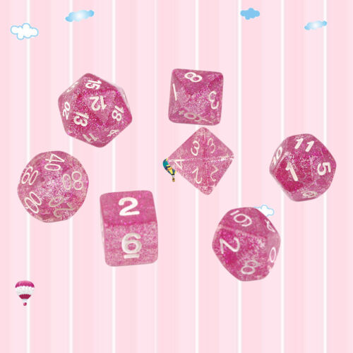 7Pcs//set Glitter Shine RPG Game Dice For Computer PC Game D4-D20 Multi Sides RS