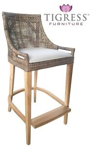 Enjoyable Details About Avoca Hamptons Style Mocha Rattan Bar Stool Kitchen Chair With Back Cushion Caraccident5 Cool Chair Designs And Ideas Caraccident5Info