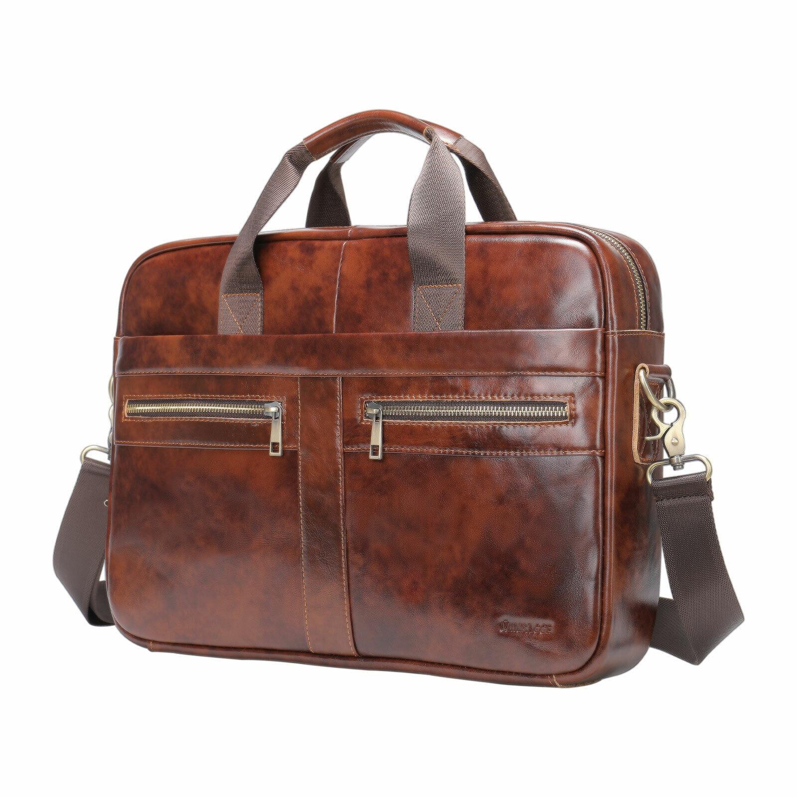 Mens GENUINE LEATHER Vintage Laptop Messenger Shoulder Bag Briefcase Satchel US. Buy it now for 28.99