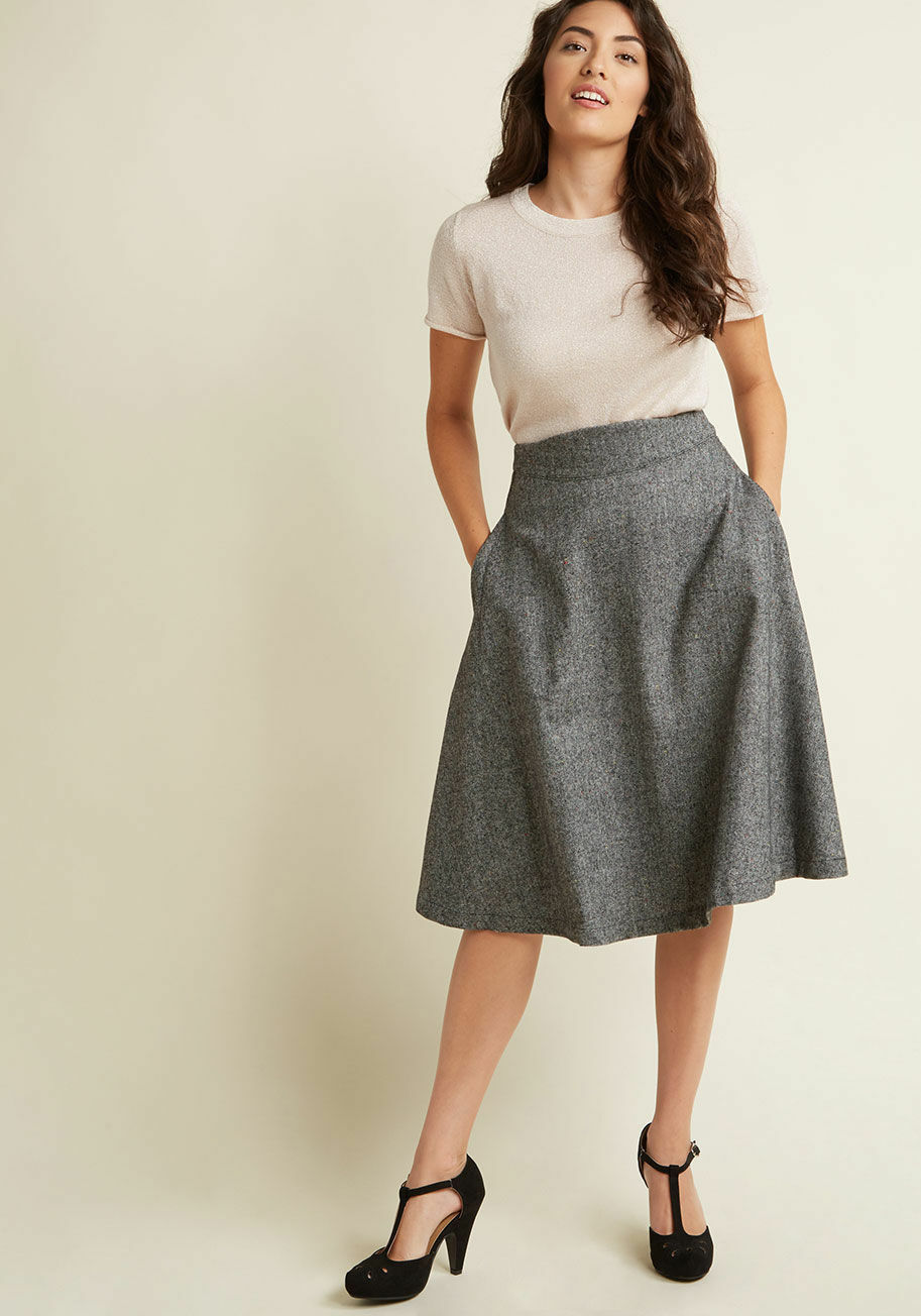 MODCLOTH PRIM CLASS HERO TWEED MIDI SKIRTCHARCOALBELOW KNEEA LINES SMALL