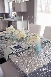 Silver Sequin Table Cloth Wedding Event Party Banquet