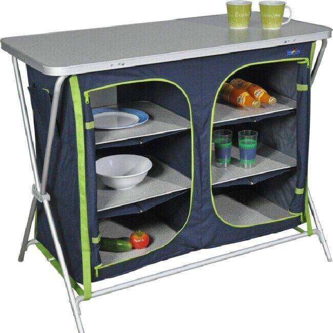 Camping Bel Sol Folding Cupboard Larder Cabinet Cupboard Kitchen XXL FB bleu-vert