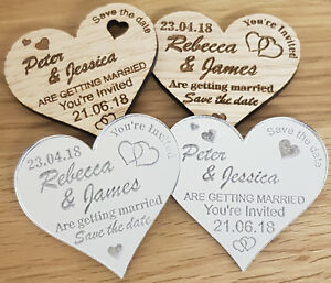 PERSONALISED-SAVE-THE-DATE-WEDDING-FRIDGE-MAGNETS-WOODEN-SILVER-MIRROR-HEART