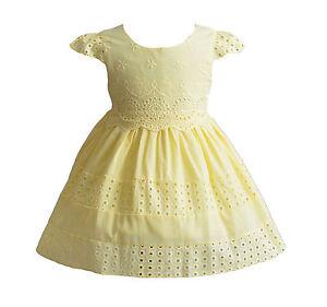7ce85a07280e5 Cinda bébé filles coton robe de fête en rose fluo jaune ivoire 6 9 ...