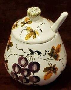 Italian Pottery Jam or Condiment Lidded Jar with Spoon Grapes Flowers